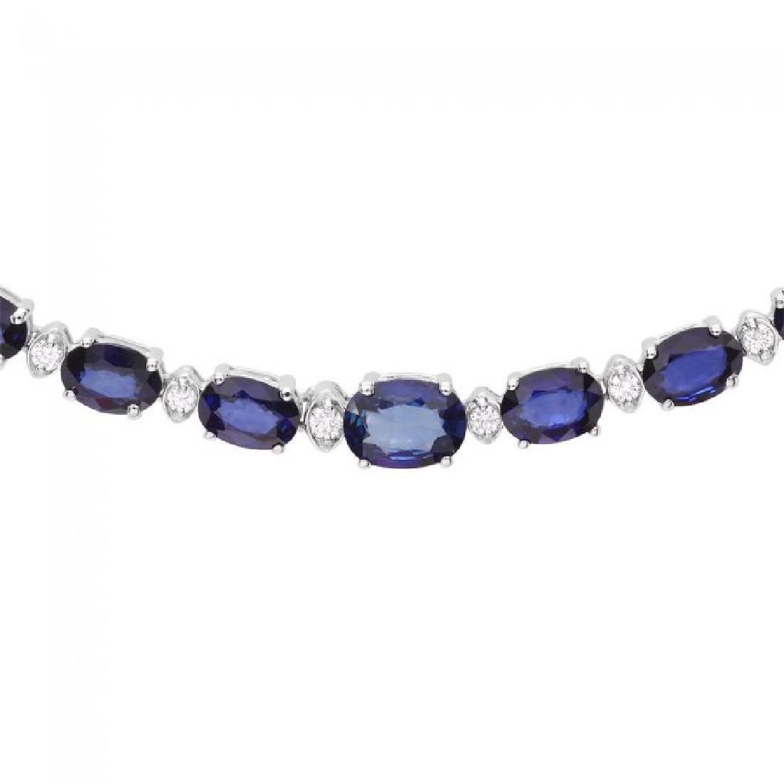 14k Gold 30ct Sapphire 1.10ct Diamond Necklace - 2