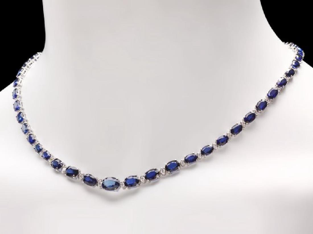14k Gold 30ct Sapphire 1.10ct Diamond Necklace - 6