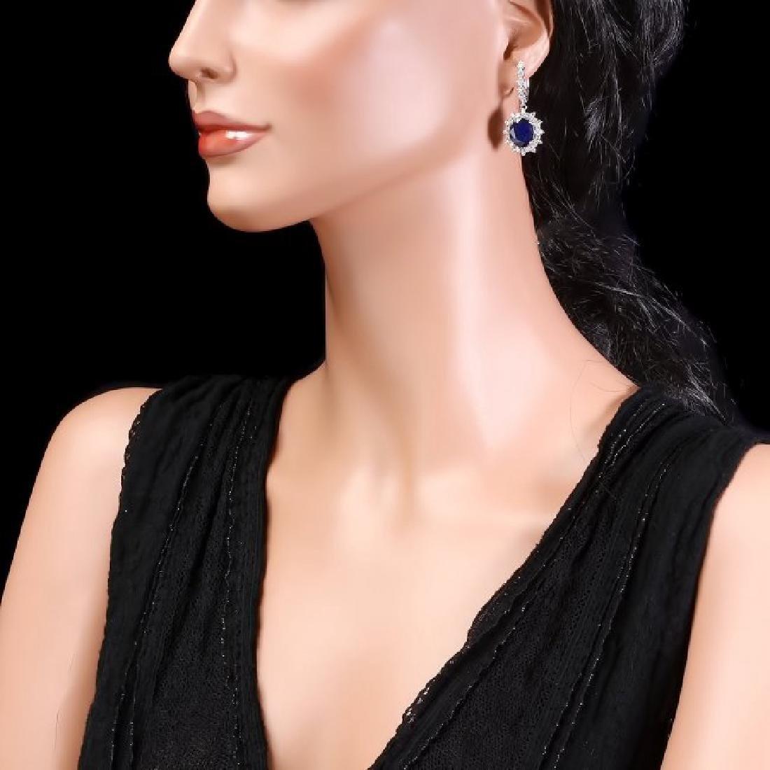 14k Gold 10.00ct Sapphire 1.70ct Diamond Earrings - 3