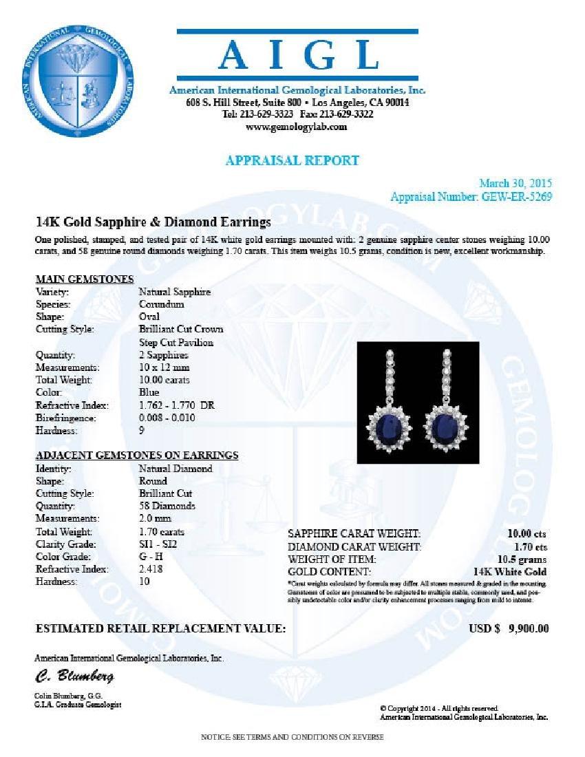 14k Gold 10.00ct Sapphire 1.70ct Diamond Earrings - 4