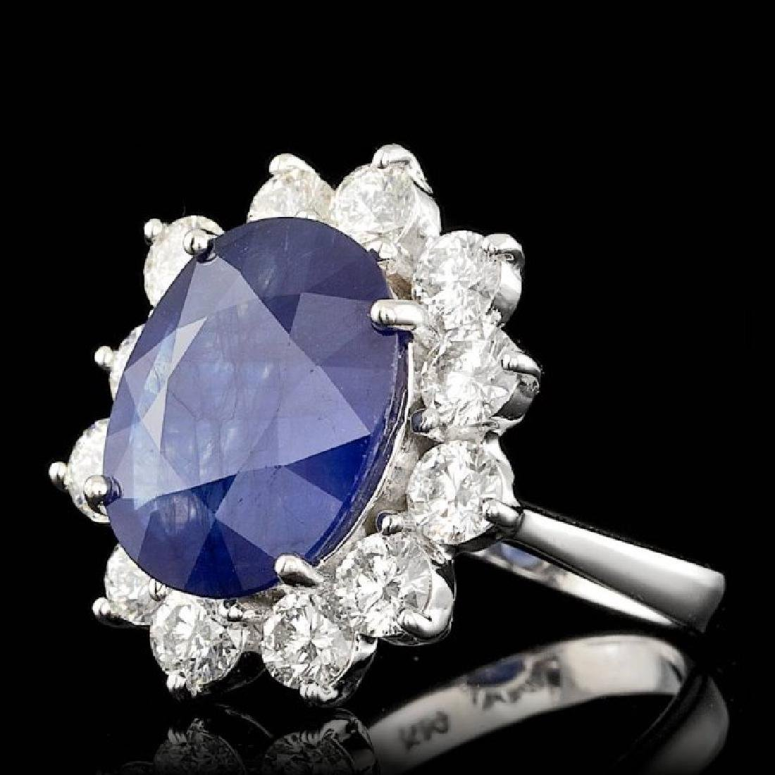 14k Gold 8.50ct Sapphire 2.50ct Diamond Ring - 2