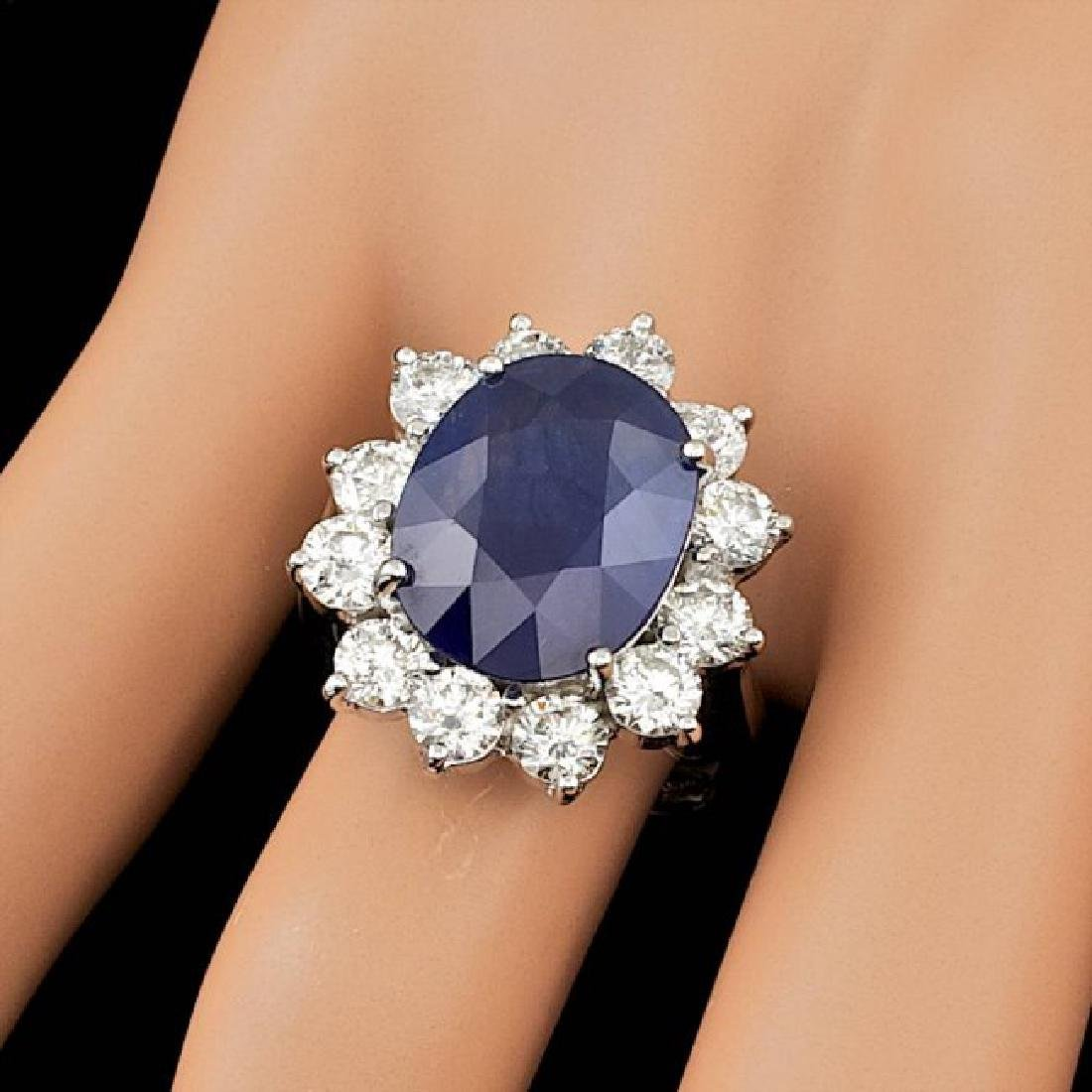14k Gold 8.50ct Sapphire 2.50ct Diamond Ring - 4