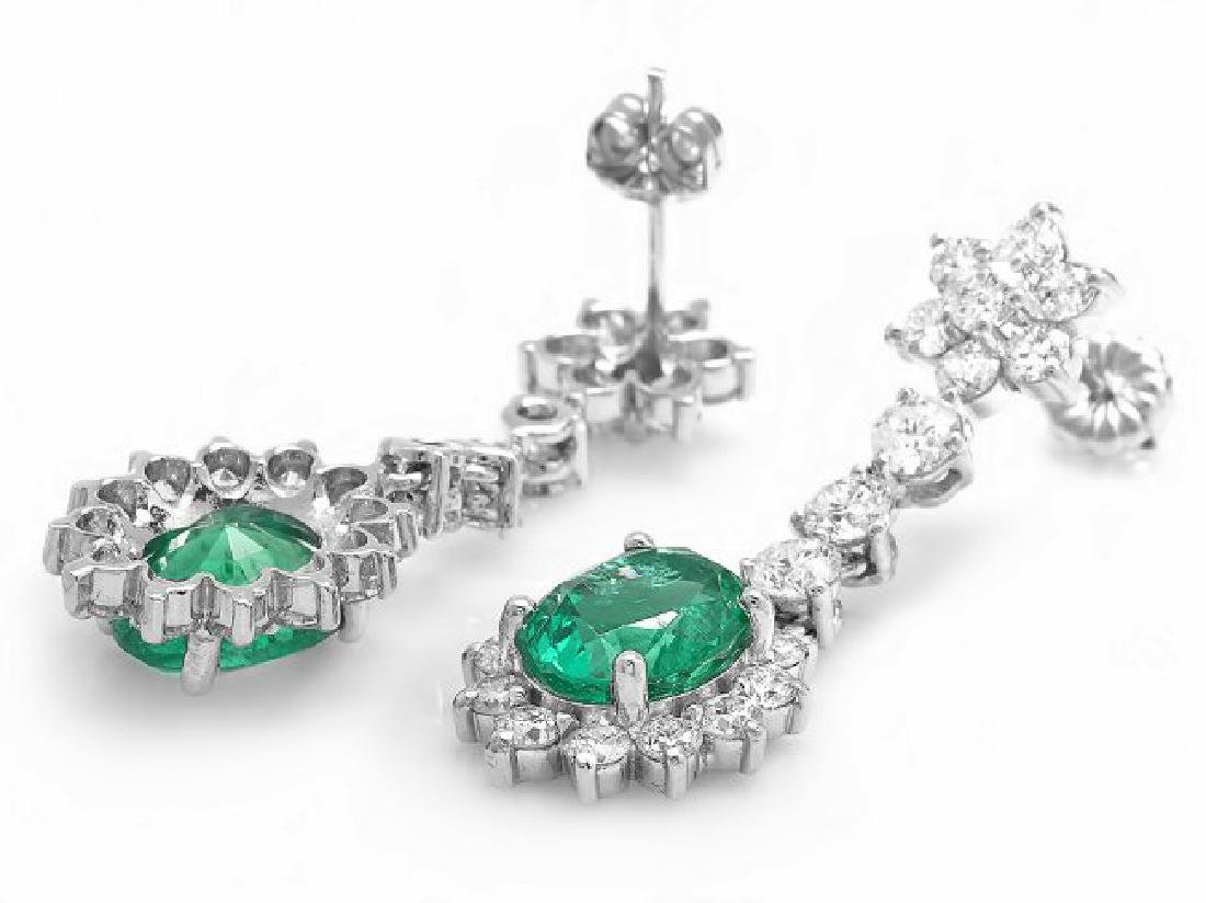 14k Gold 4ct Emerald 3.20ct Diamond Earrings - 2