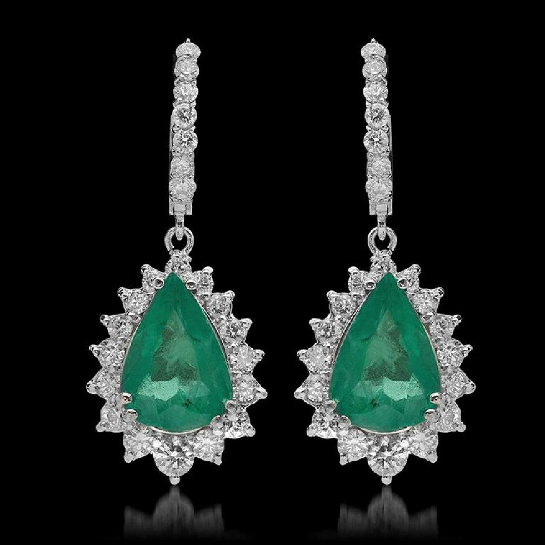 14K Gold 7.24ct Emerald & 2.51ct Diamond Earrings
