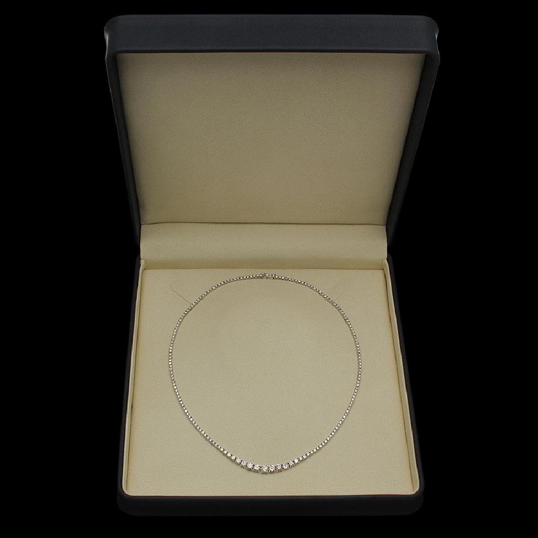 18K Gold 7.57ct Diamond Necklace - 4