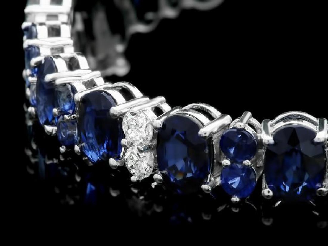 14k Gold 23ct Sapphire 1.60ct Diamond Bracelet - 2