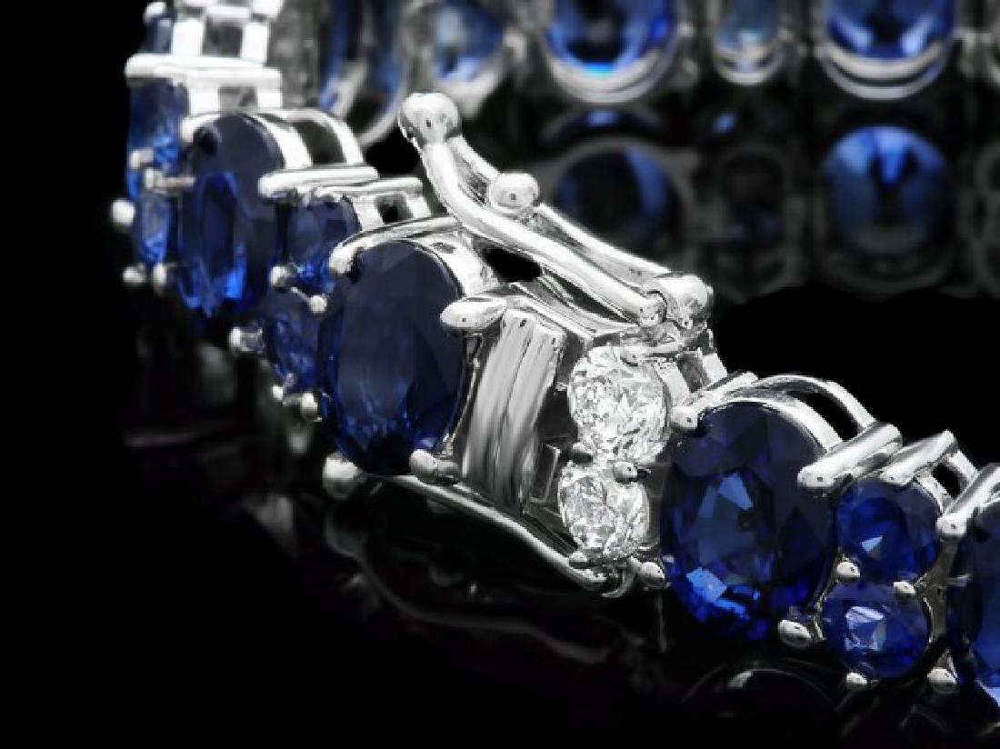 14k Gold 23ct Sapphire 1.60ct Diamond Bracelet - 3
