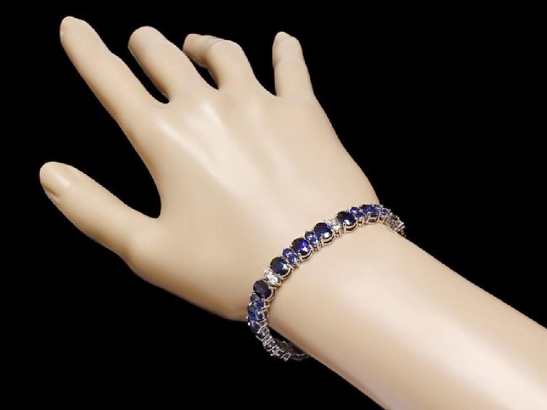 14k Gold 23ct Sapphire 1.60ct Diamond Bracelet - 4