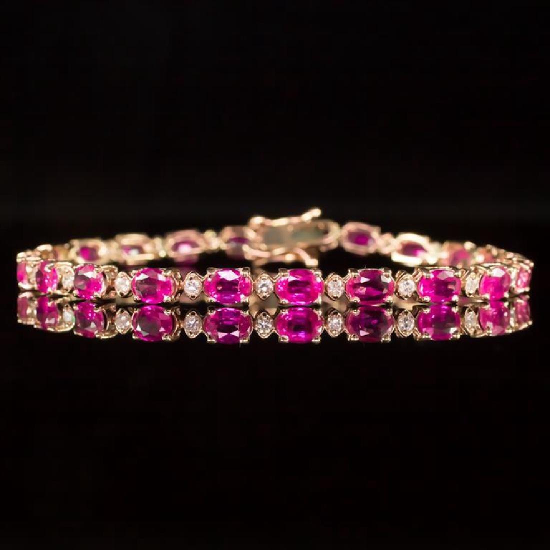 14K Gold 9.36ct Pink Sapphire 0.70ct Diamond Bracelet