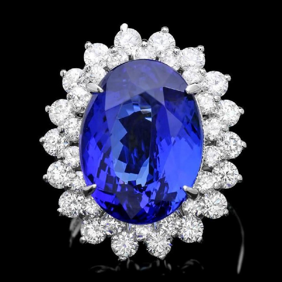 14k Gold 11.00ct Tanzanite 2.30ct Diamond Ring