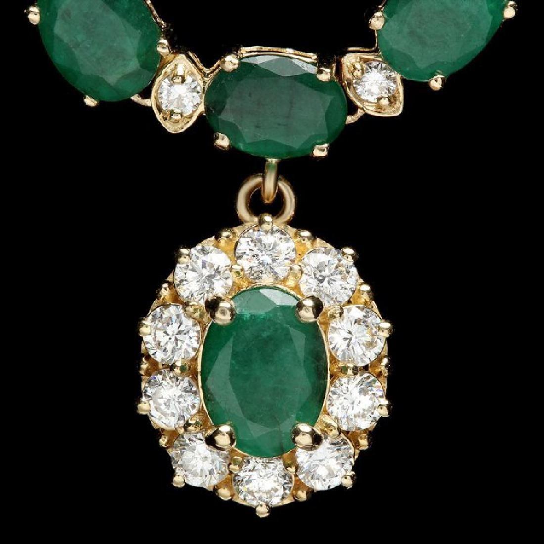 14k Gold 24.25ct Emerald 2.00ct Diamond Necklace
