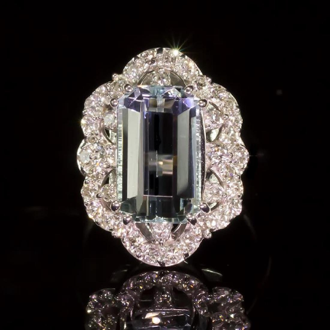 14K Gold 6.50ct Aquamarine 0.80ct Diamond Ring