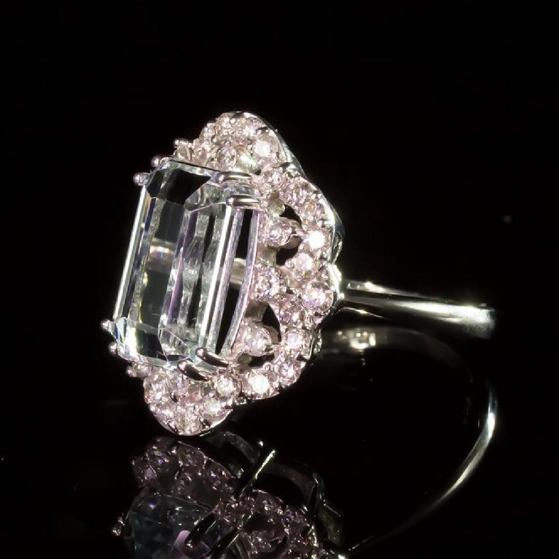 14K Gold 6.50ct Aquamarine 0.80ct Diamond Ring - 2