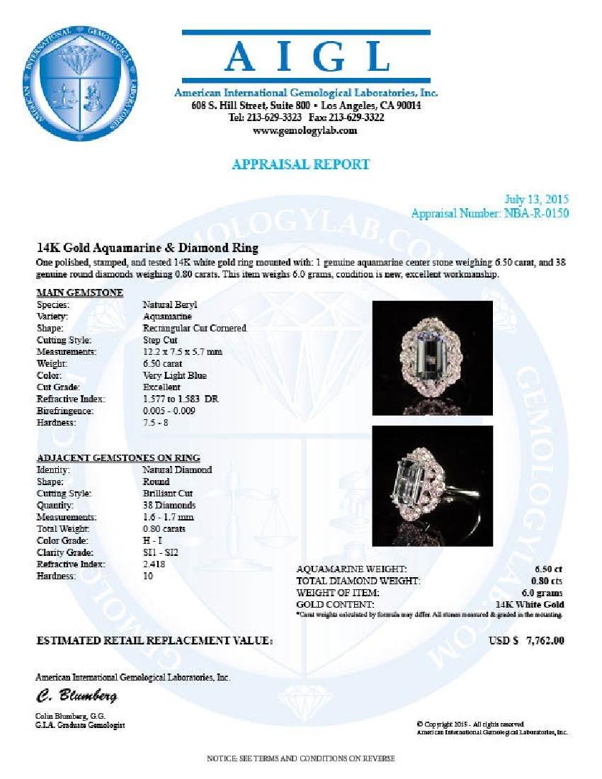 14K Gold 6.50ct Aquamarine 0.80ct Diamond Ring - 4