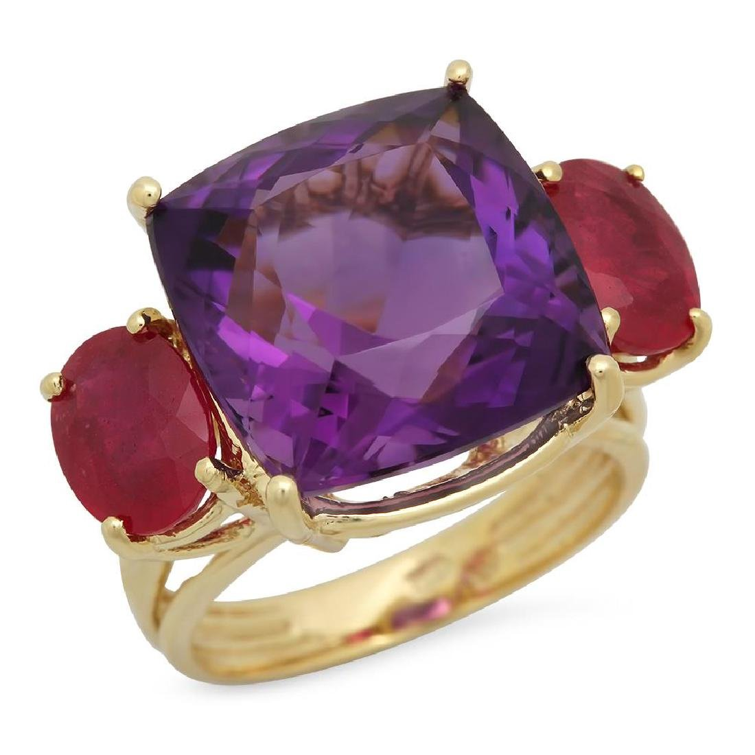 14K Gold 12.32ct Amethyst 3.64ct Ruby Ring