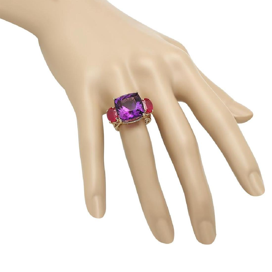 14K Gold 12.32ct Amethyst 3.64ct Ruby Ring - 3