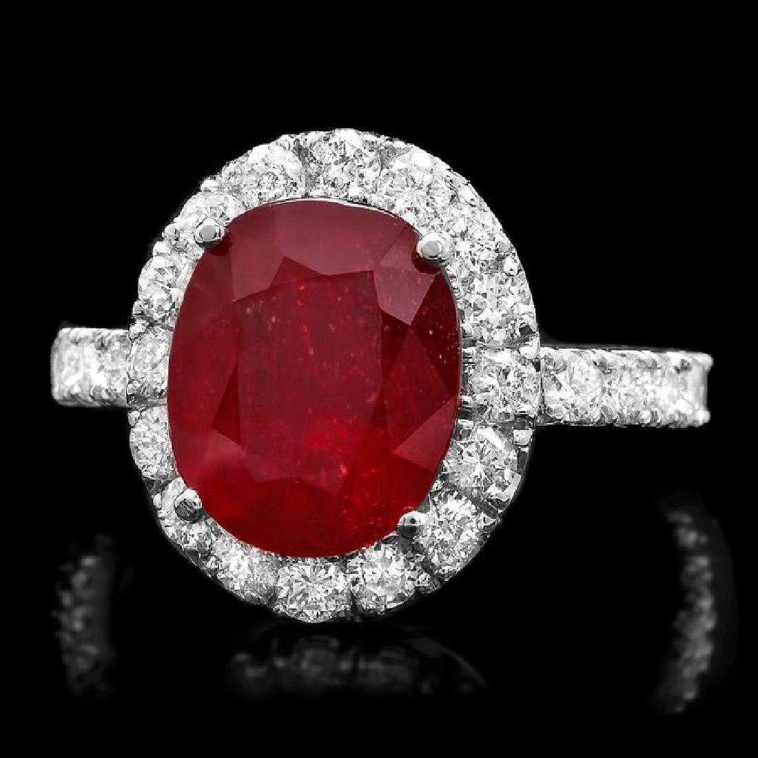 14k White Gold 5.00ct Ruby 1.40ct Diamond Ring