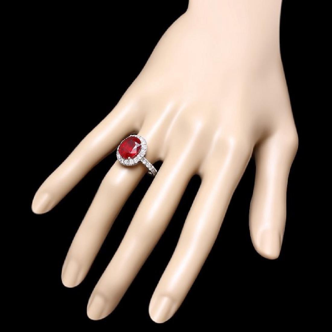 14k White Gold 5.00ct Ruby 1.40ct Diamond Ring - 3