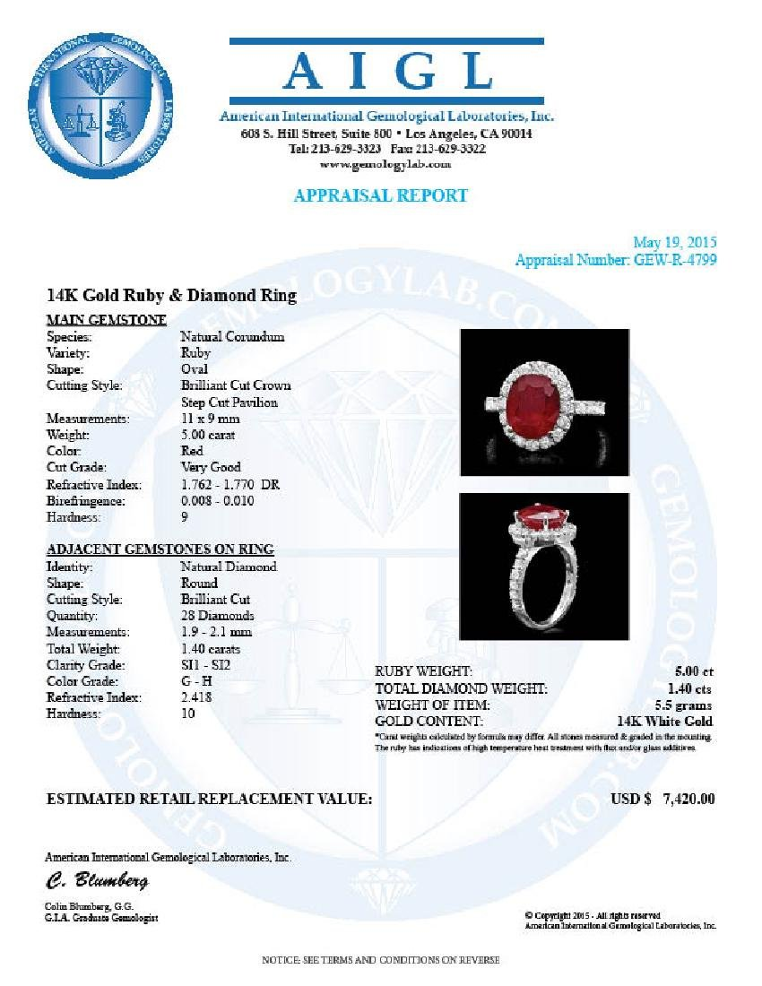 14k White Gold 5.00ct Ruby 1.40ct Diamond Ring - 4