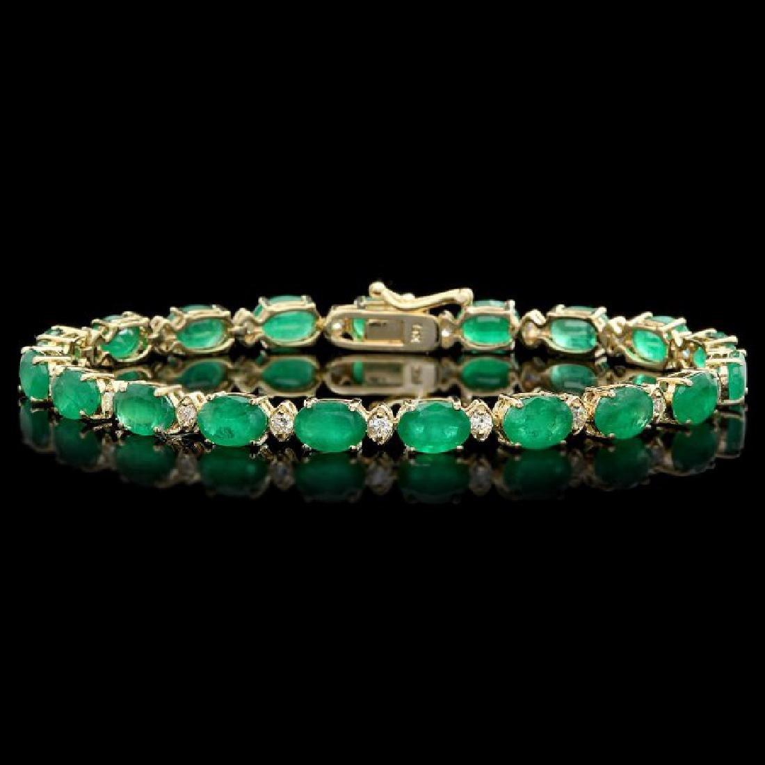 14k Gold 13ct Emerald 0.85ct Diamond Bracelet