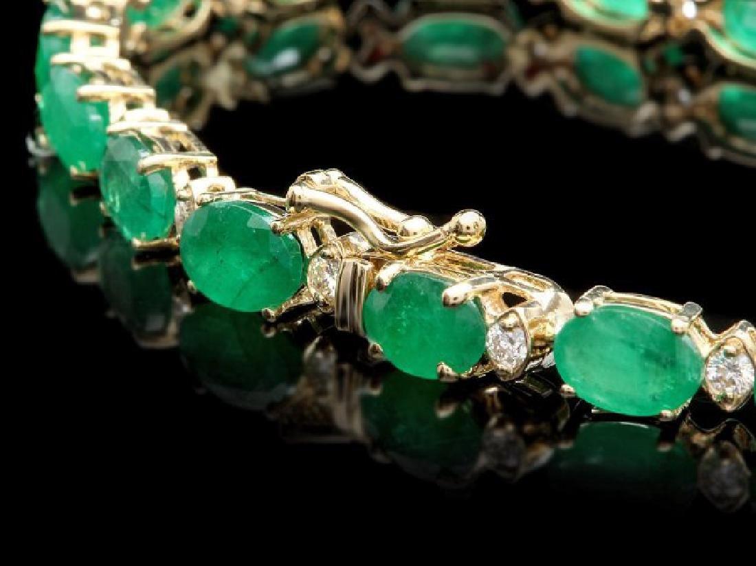 14k Gold 13ct Emerald 0.85ct Diamond Bracelet - 2