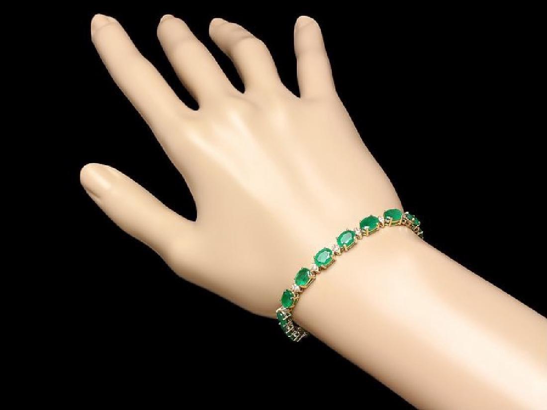 14k Gold 13ct Emerald 0.85ct Diamond Bracelet - 3
