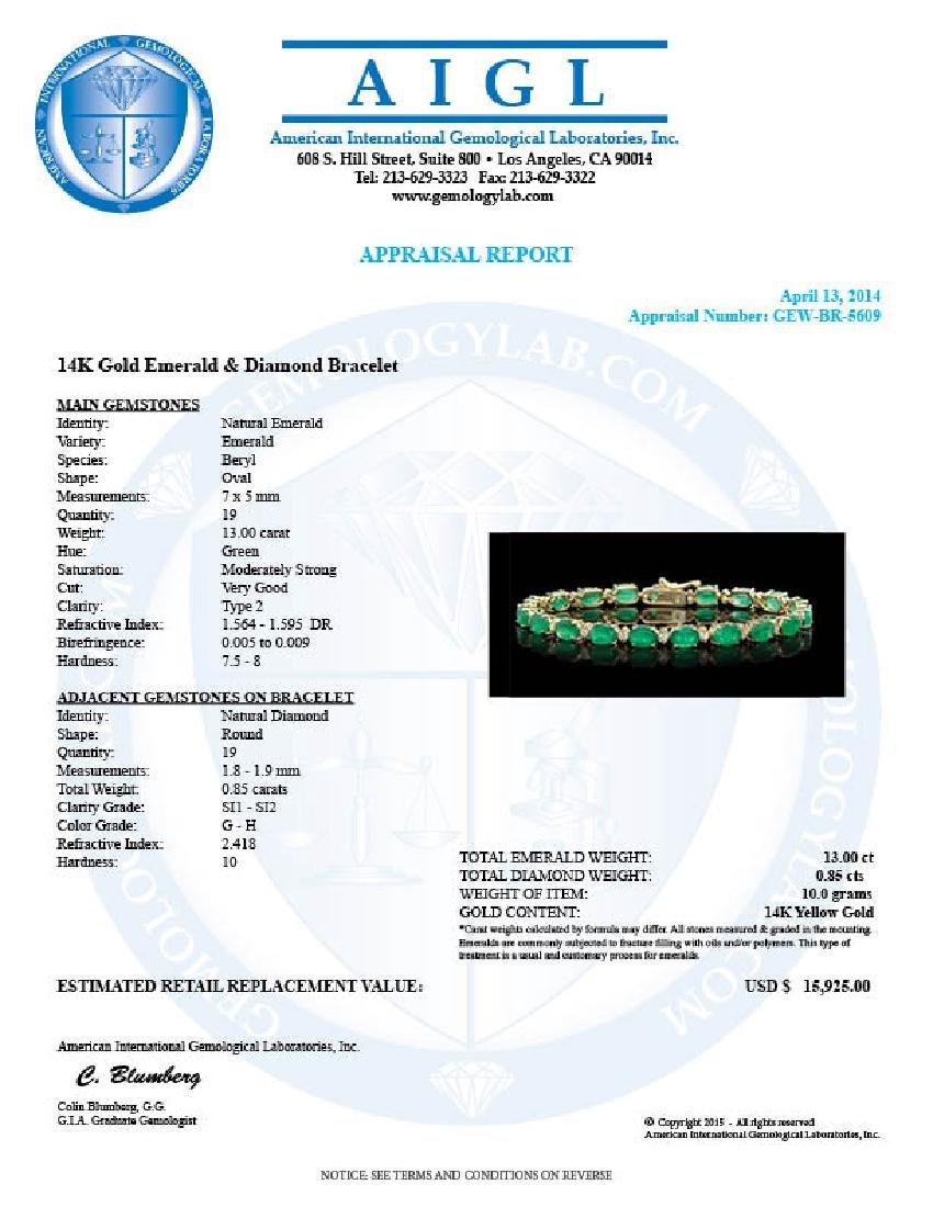 14k Gold 13ct Emerald 0.85ct Diamond Bracelet - 5