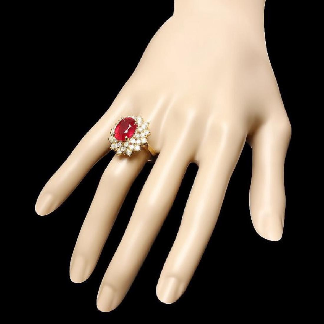 14k Yellow Gold 7.50ct Ruby 2.30ct Diamond Ring - 3