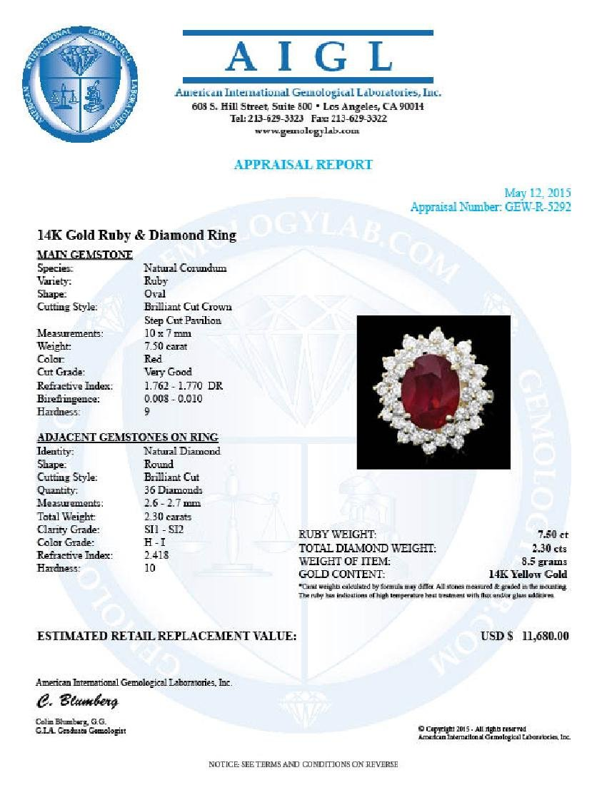 14k Yellow Gold 7.50ct Ruby 2.30ct Diamond Ring - 4