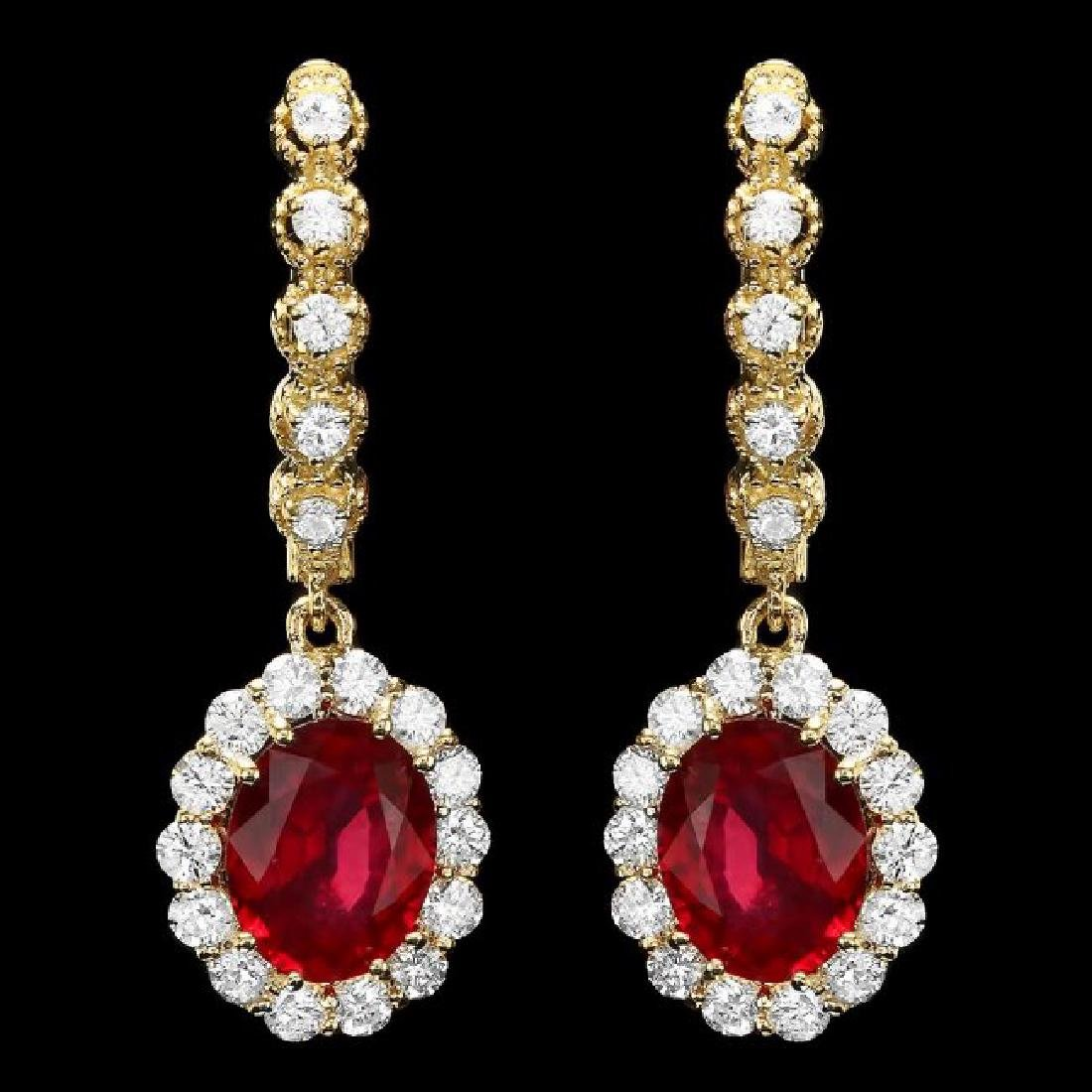 14k Gold 5.3ct Ruby 1.40ct Diamond Earrings
