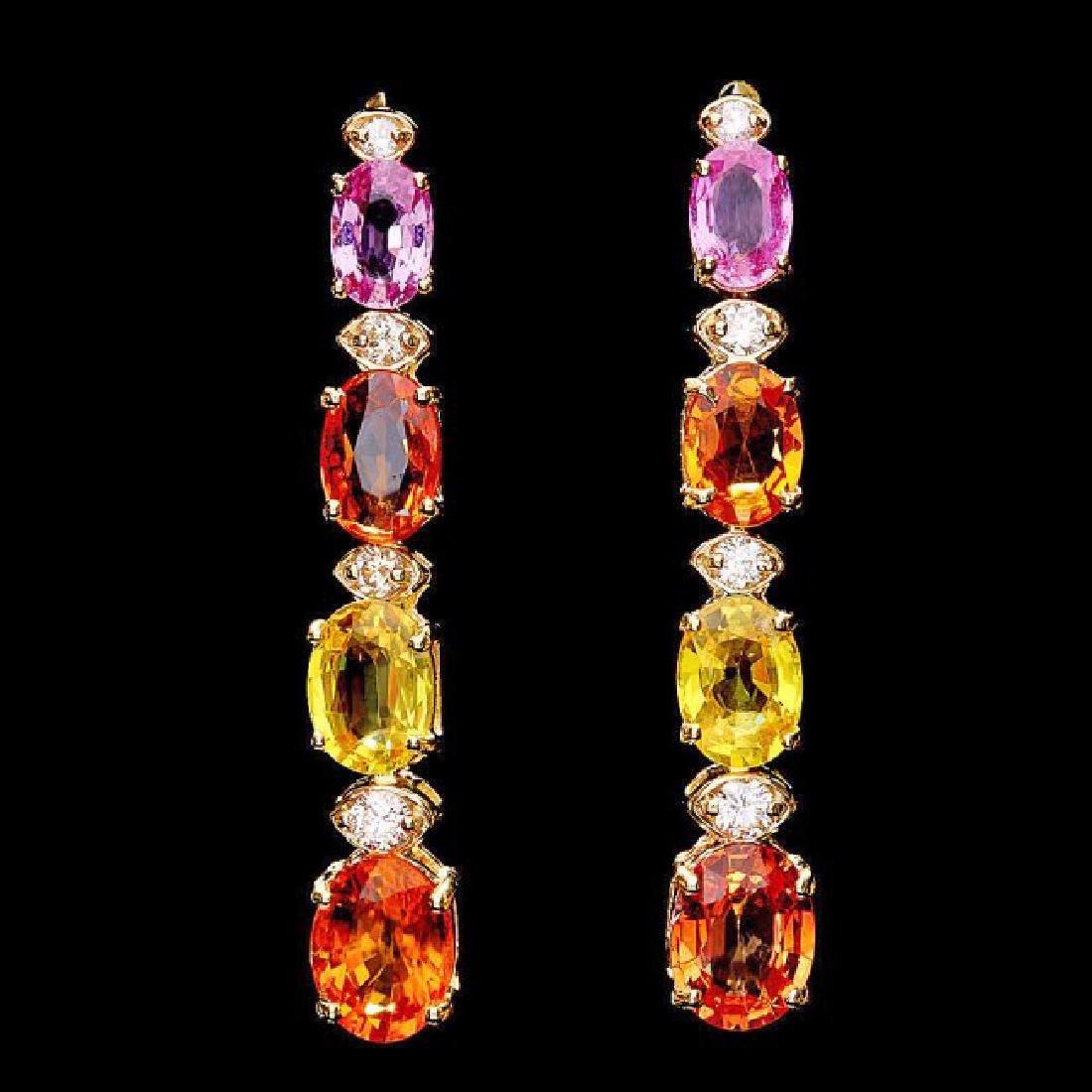 14k Gold 8ct Sapphire 0.40ct Diamond Earrings