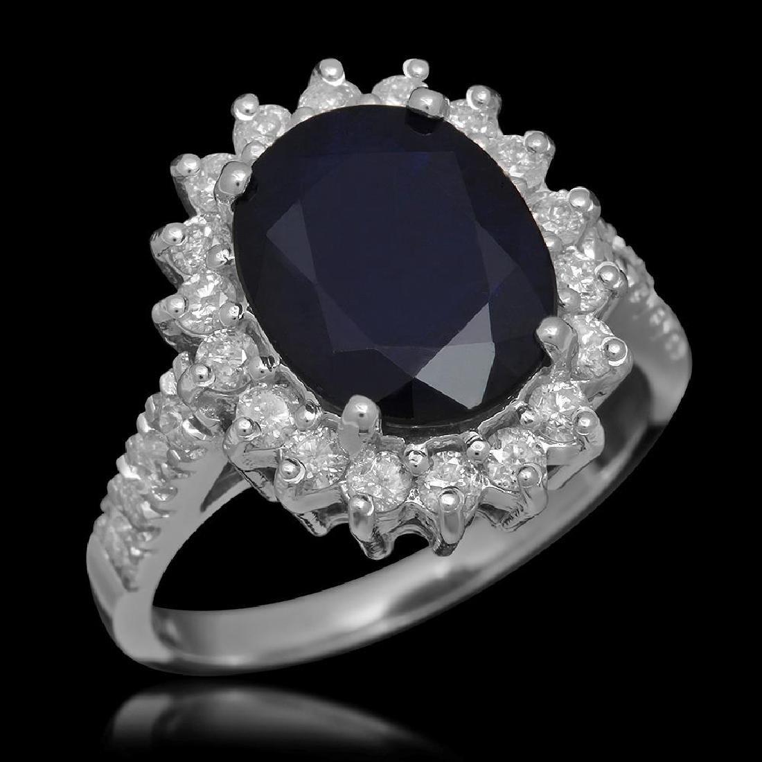 14K Gold 3.83ct Sapphire 0.78ct Diamond Ring