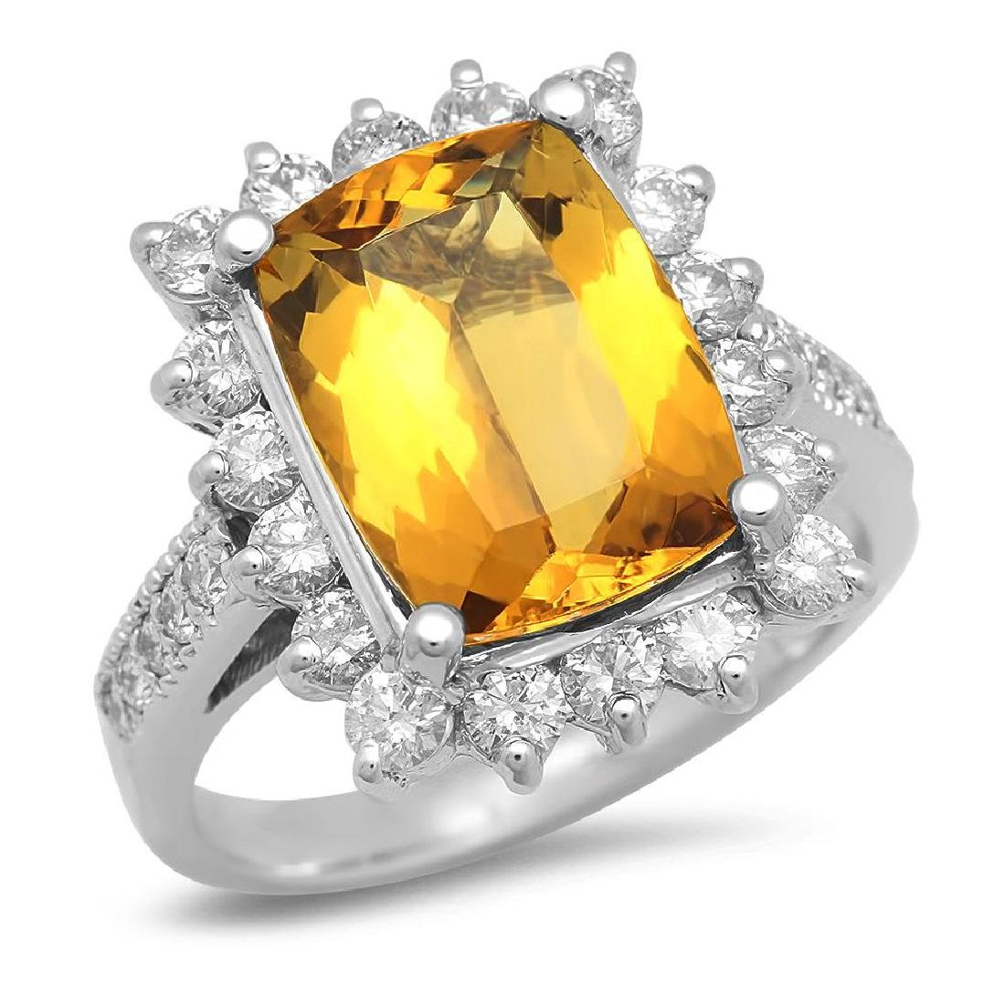 14K Gold 3.91ct Yellow Beryl 1.15cts Diamond Ring