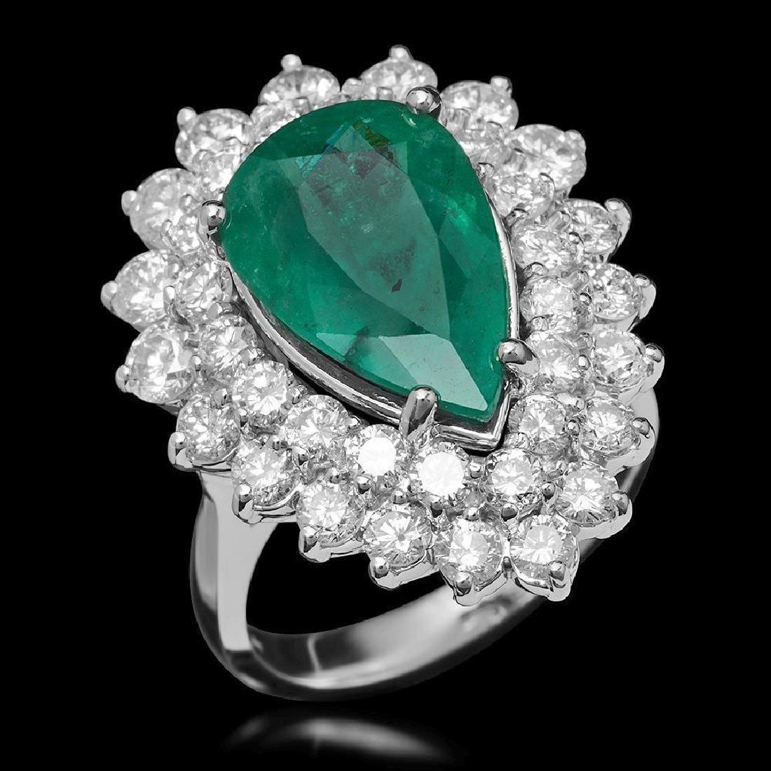 14K Gold 5.12ct Emerald & 2.75ct Diamond Ring