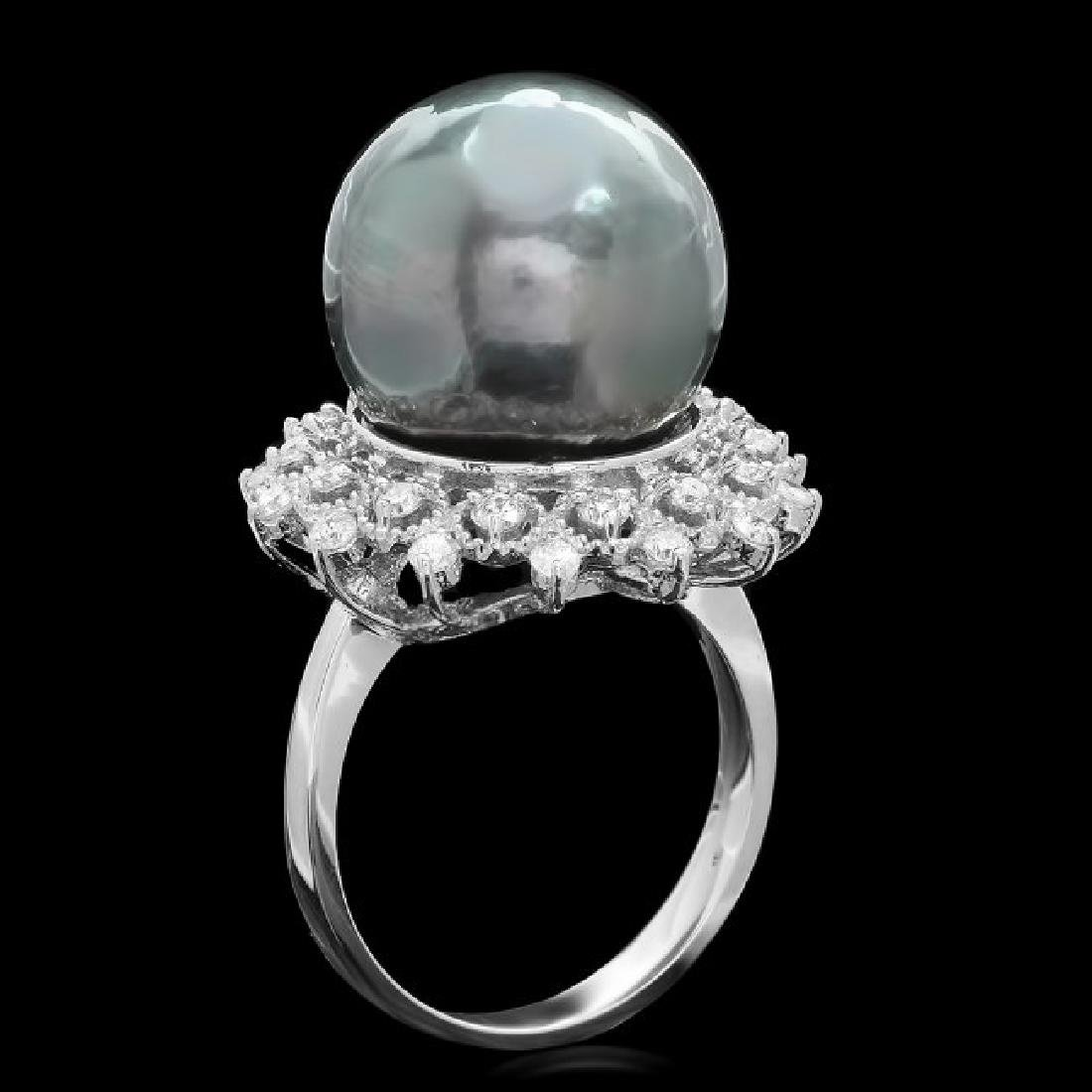 14k White Gold 14mm Pearl 0.70ct Diamond Ring - 2