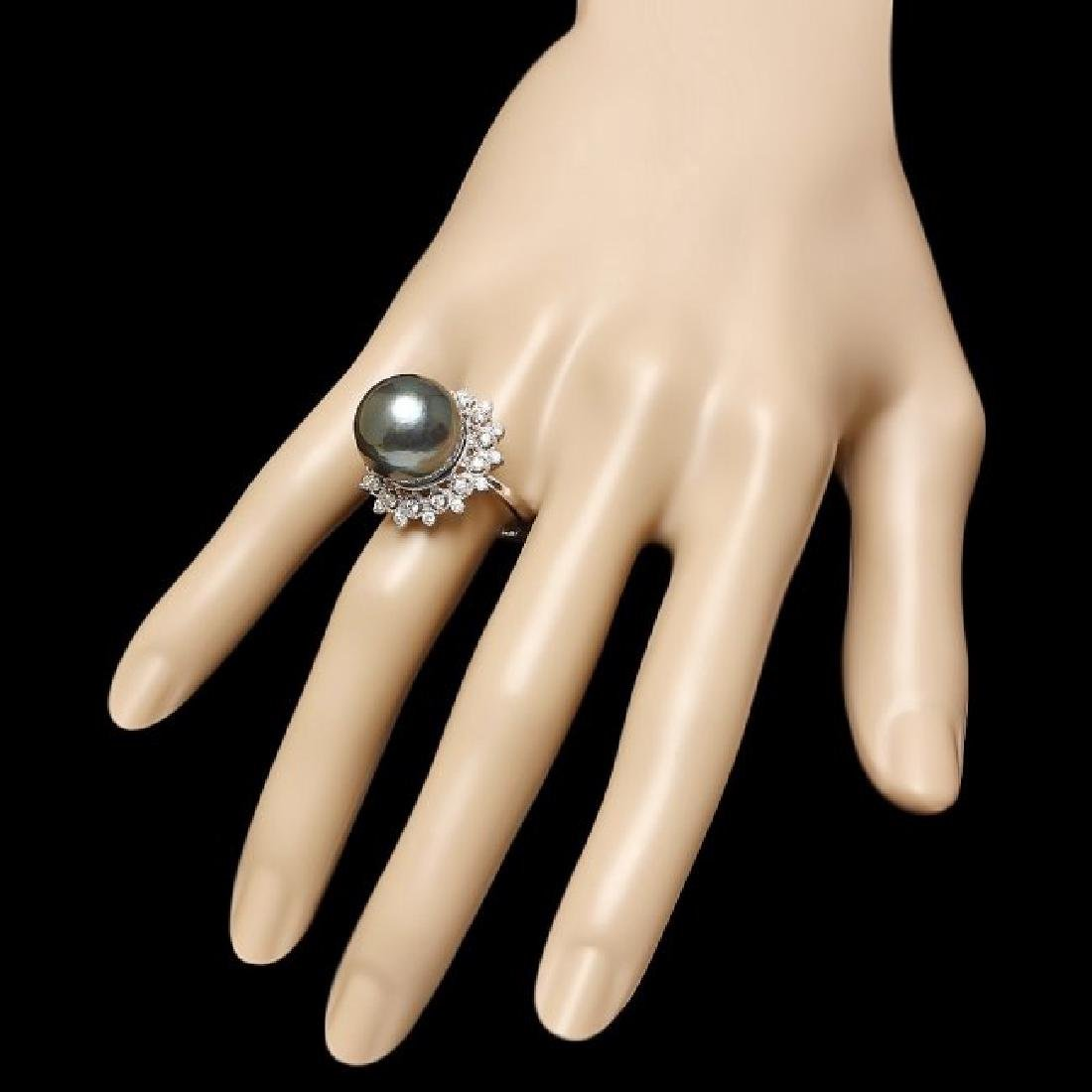 14k White Gold 14mm Pearl 0.70ct Diamond Ring - 3
