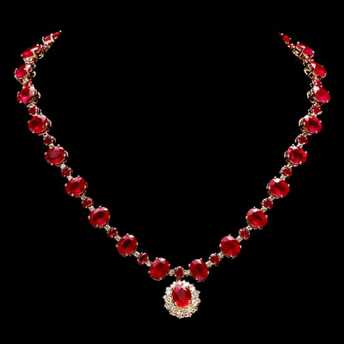 14k Gold 72.00ct Ruby 1.30ct Diamond Necklace