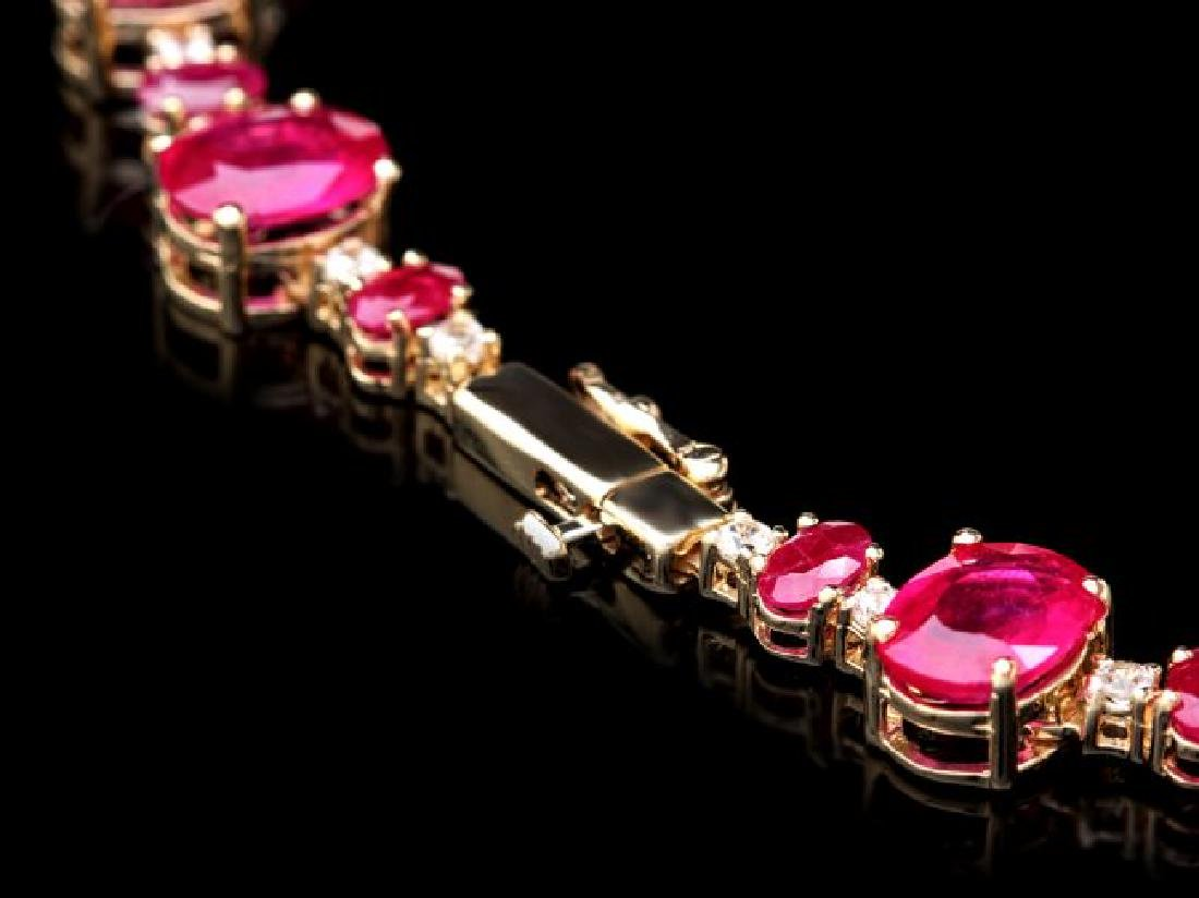 14k Gold 72.00ct Ruby 1.30ct Diamond Necklace - 4