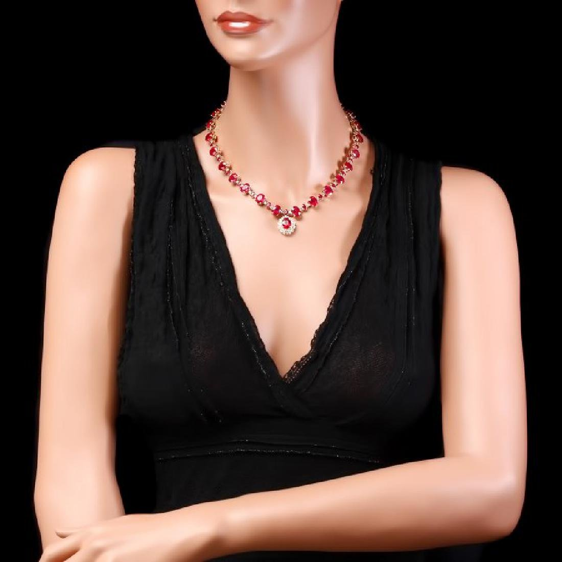 14k Gold 72.00ct Ruby 1.30ct Diamond Necklace - 5