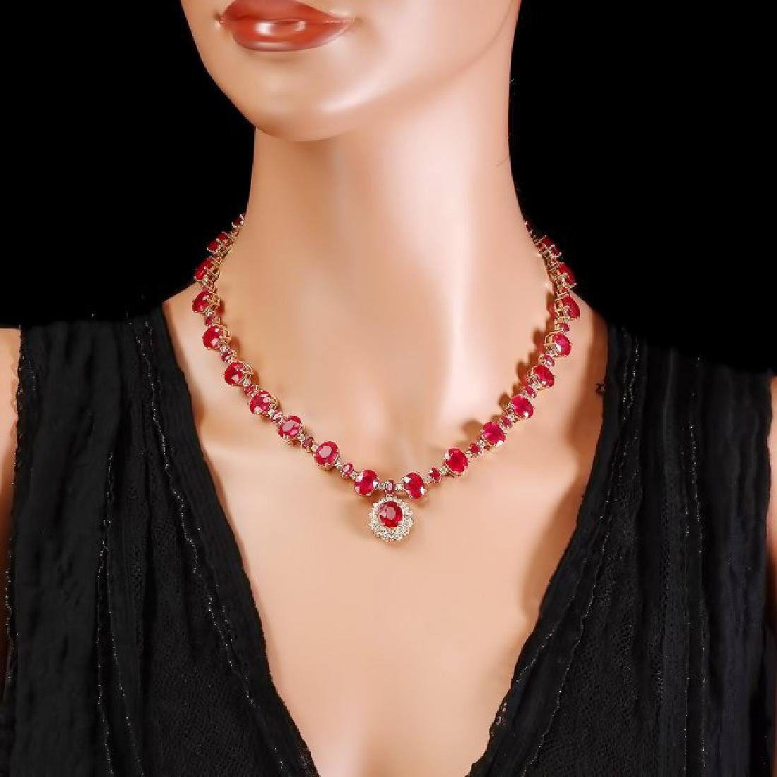 14k Gold 72.00ct Ruby 1.30ct Diamond Necklace - 6