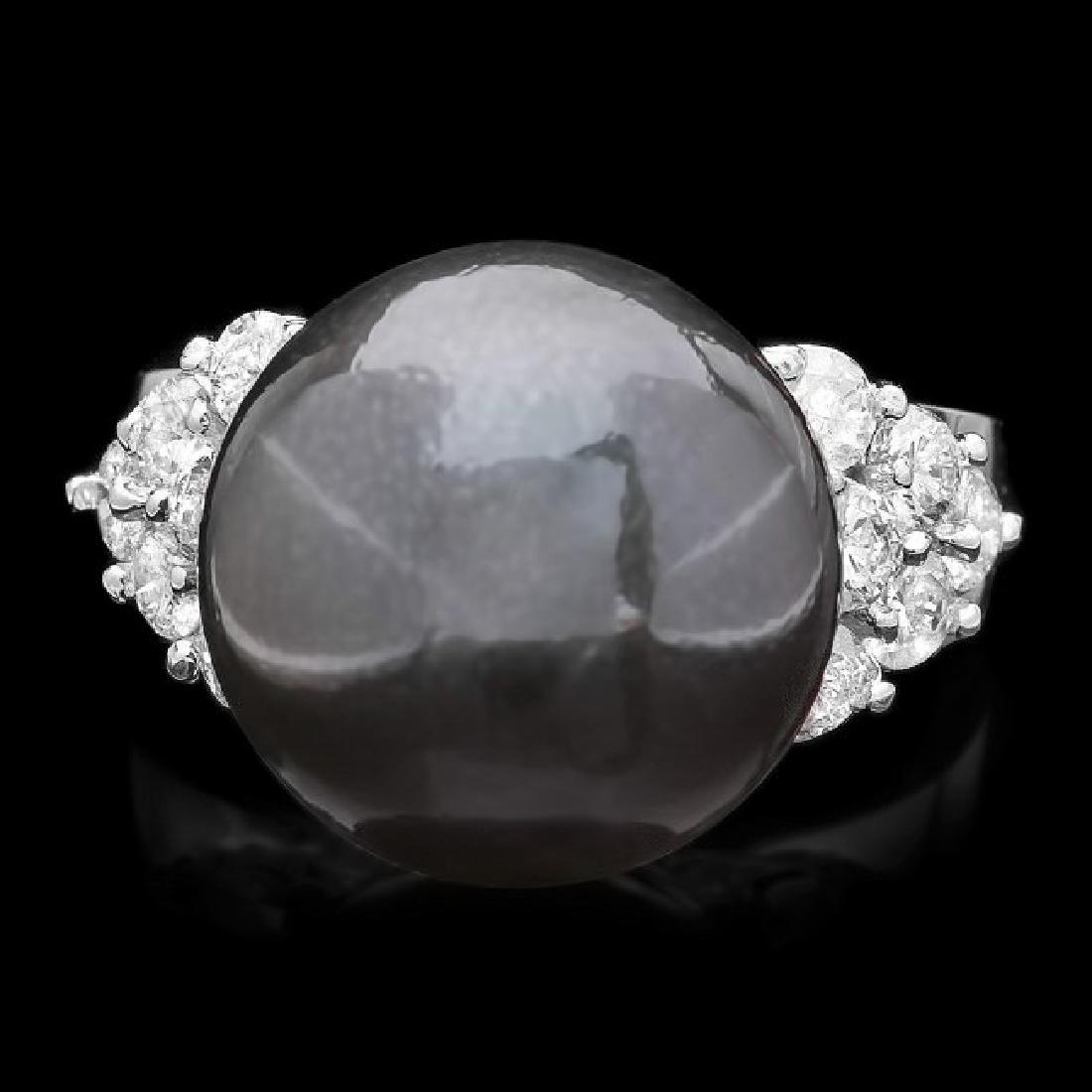 14k Gold 13 X 13mm Pearl 0.85ct Diamond Ring