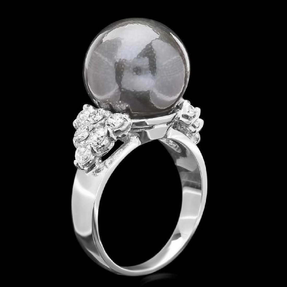 14k Gold 13 X 13mm Pearl 0.85ct Diamond Ring - 2