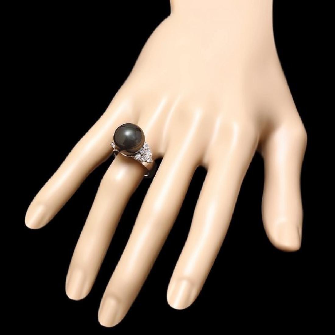 14k Gold 13 X 13mm Pearl 0.85ct Diamond Ring - 3