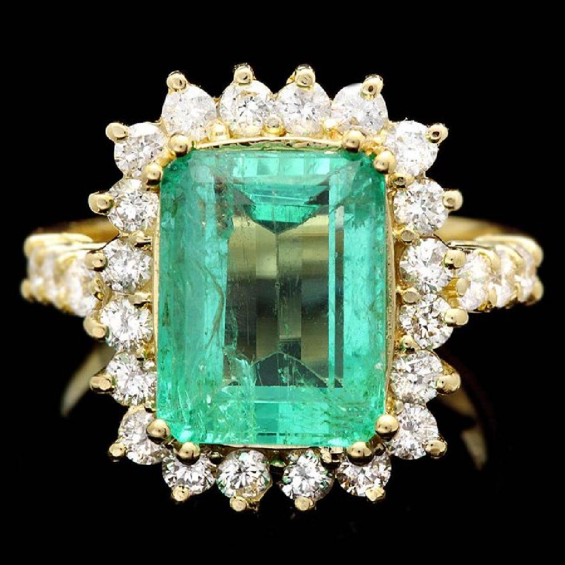 18k Gold 5.00ct Emerald 1.10ct Diamond Ring
