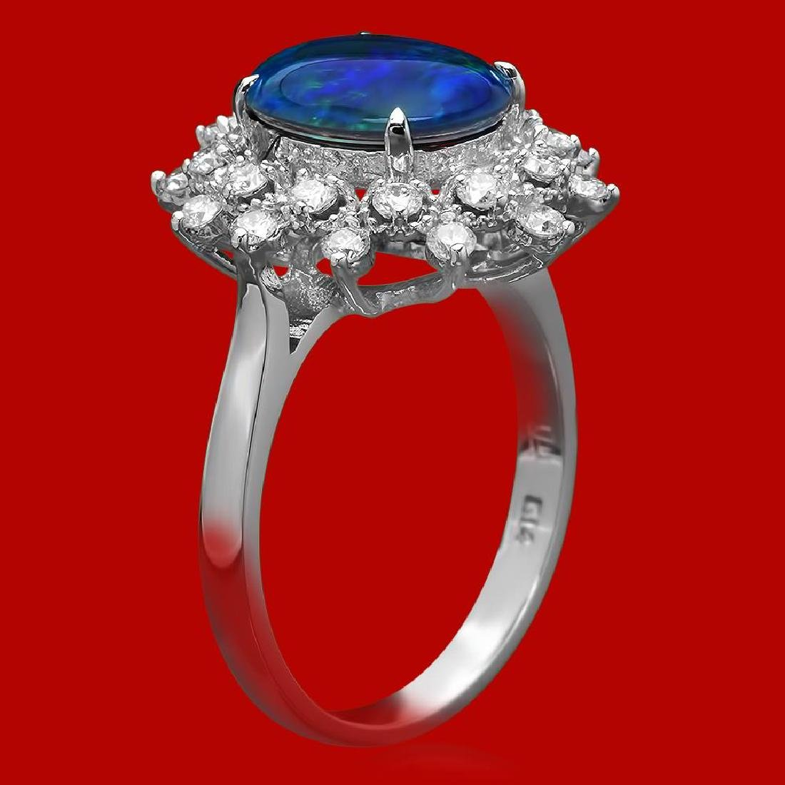 14k Gold 1.81ct Opal 0.65ct Diamond Ring - 2