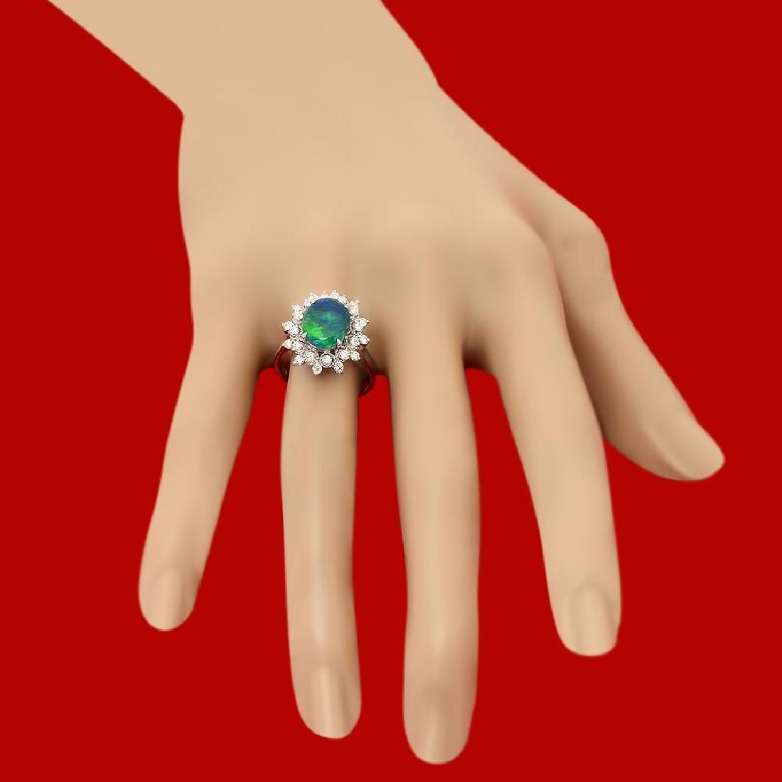 14k Gold 1.81ct Opal 0.65ct Diamond Ring - 3