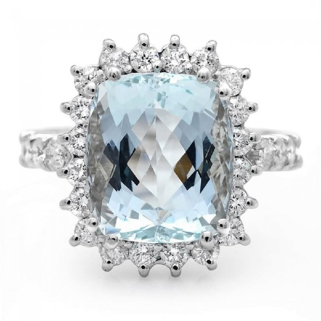 14k Gold 6.00ct Aquamarine 1.00ct Diamond Ring - 2