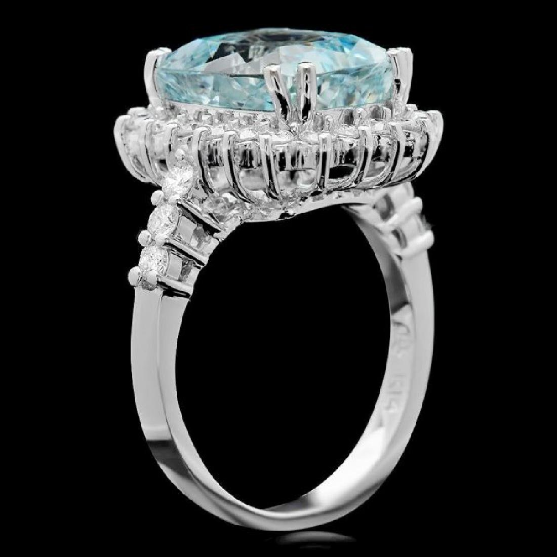 14k Gold 6.00ct Aquamarine 1.00ct Diamond Ring - 3