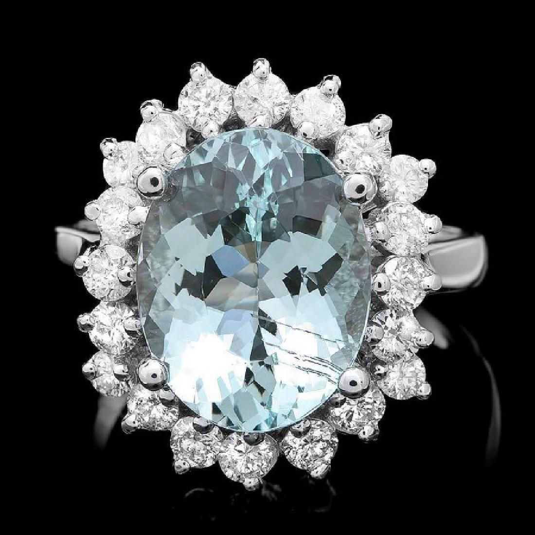 14k Gold 5.00ct Aquamarine 1.00ct Diamond Ring