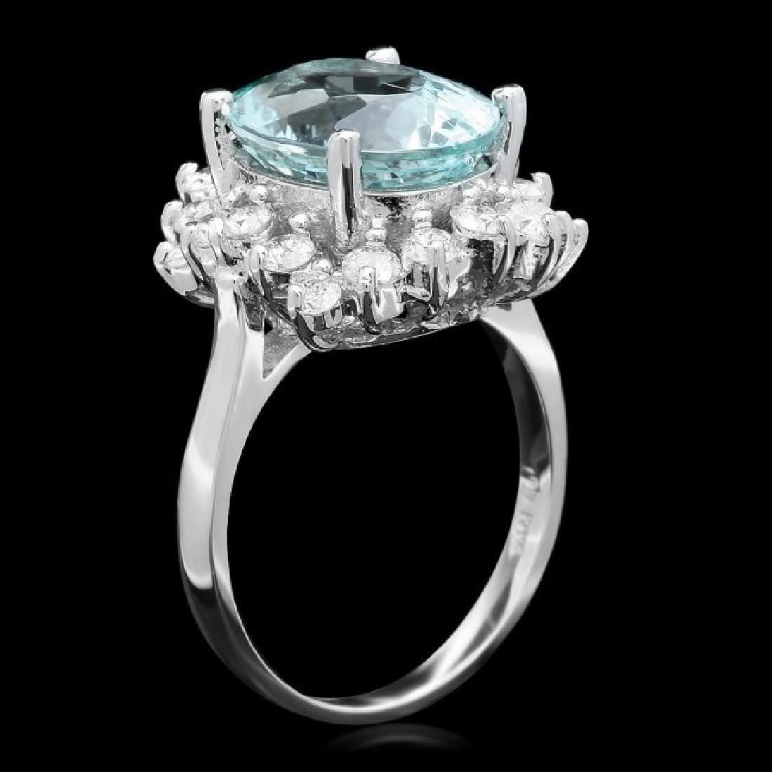 14k Gold 5.00ct Aquamarine 1.00ct Diamond Ring - 2